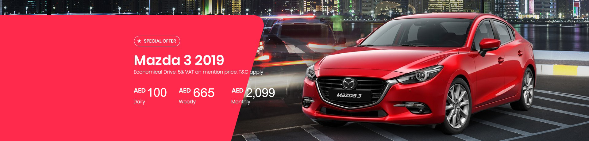 Rent a Mazda 3 2019 for AED 70/Day