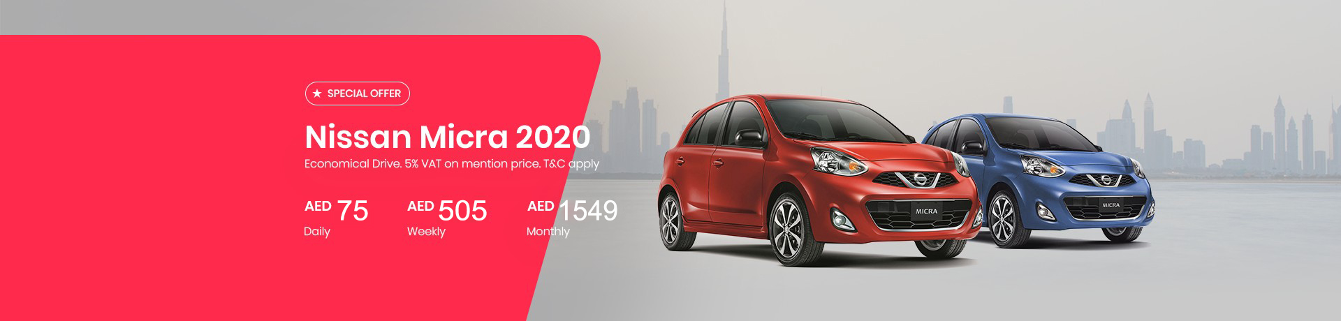Hire a Nissan Micra 2020 for AED 1249/Month