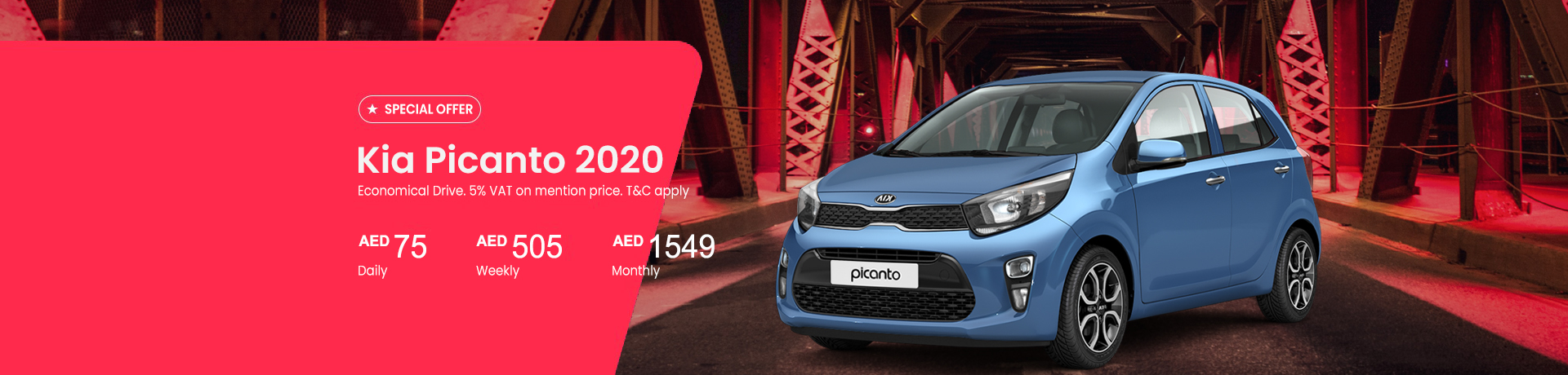 Car Hire Promotion on Kia Picanto